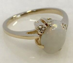 Beautiful-14k-Yellow-Gold-Opal-amp-Diamond-Ring