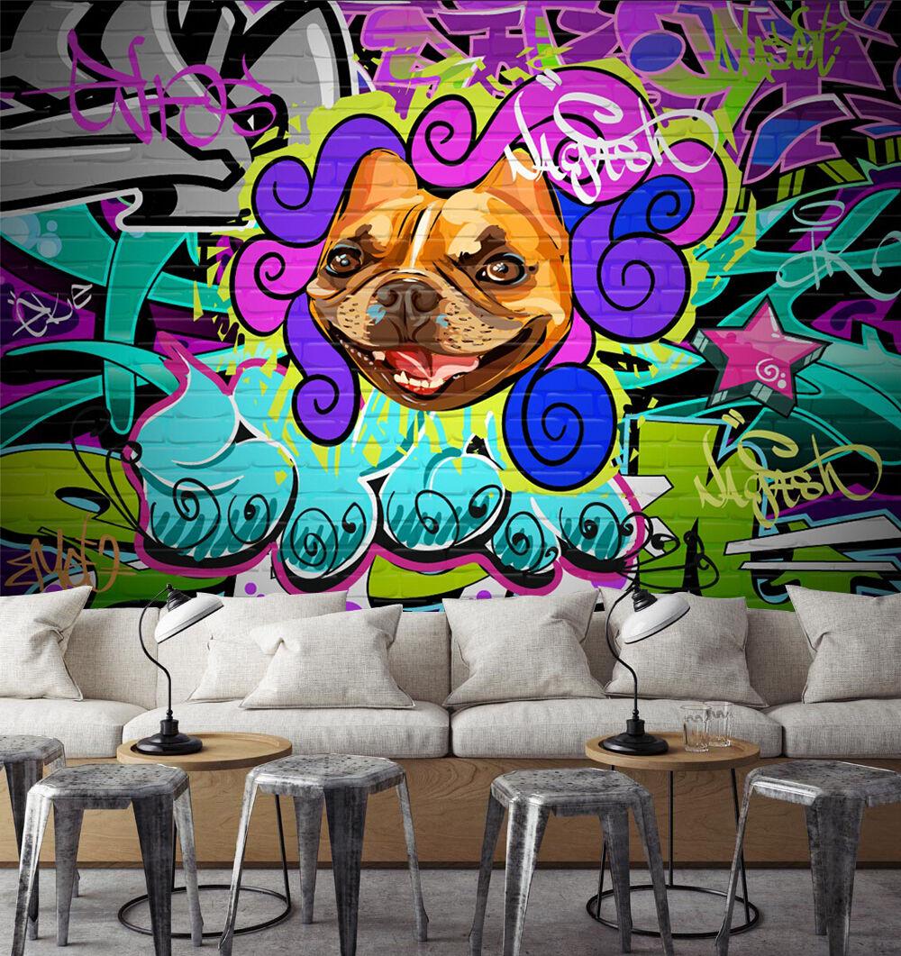 3D Dog colorful Graffiti Art 13 Wall Paper Wall Print Decal Wall AJ WALLPAPER CA
