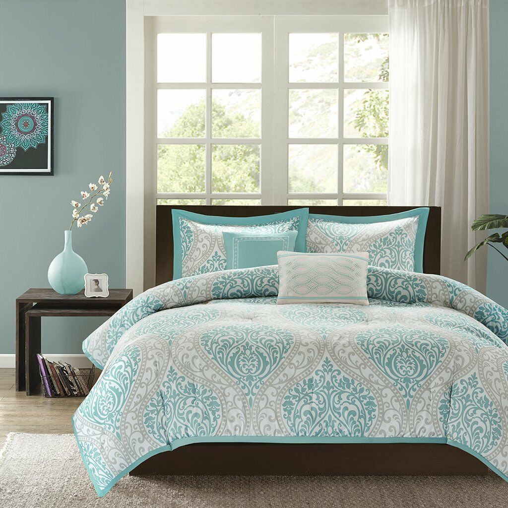 Comforter Bedding Set 5 Piece All Seasons Aqua Damask Pattern Full Queen Größe