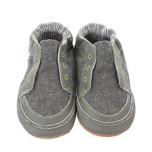 NEW Robeez Stylish Steve Soft Soles Canvas Baby Shoes Baby Boy Gray Stone