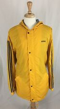 Adidas Windbreaker Jacket Yellow Full Zip Hooded W/ Lining Mens Size XL X-Large