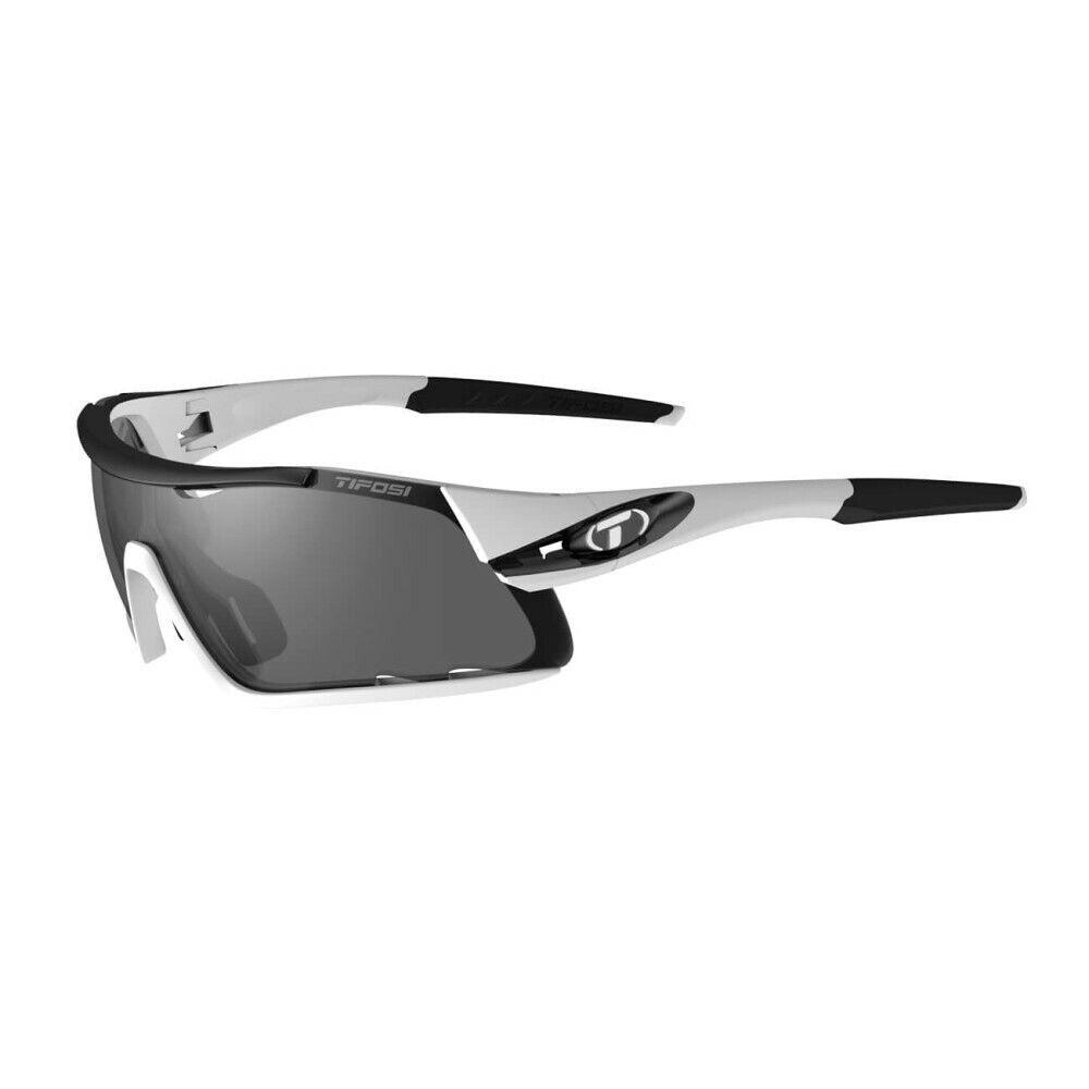Tifosi Davos Weiß/Schwarz Multi Linse Sonnenbrille - Rauch / AC Rot/Klar