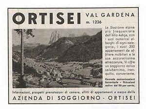 Dettagli su Pubblicità 1941 ORTISEI VAL GARDENA ALTO ADIGE advert werbung  publicitè reklame