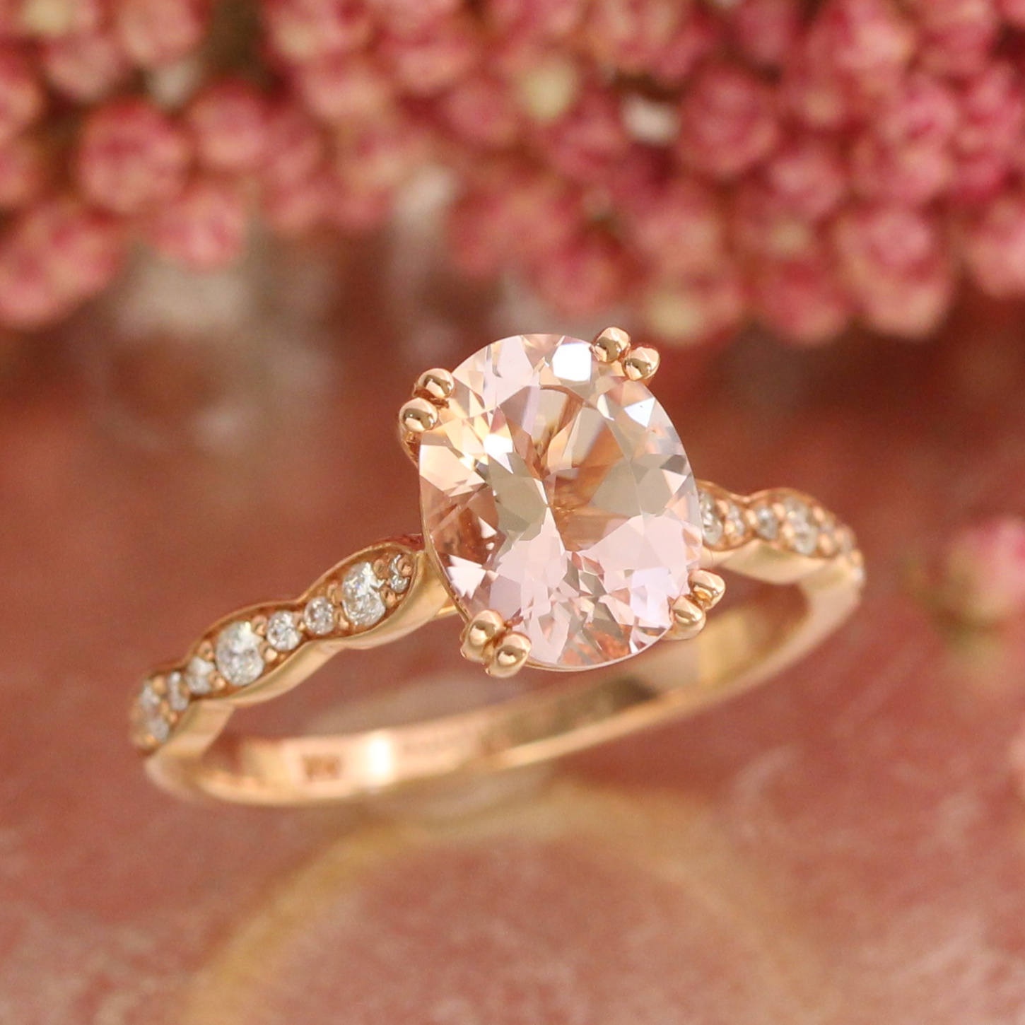 1.4ct Oval Cut Peach Morganite Solitaire Engagement Ring 14k pink gold Finish