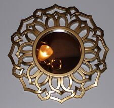 New Gold Round Mirror Accent Wall Modern Home Bedding Decor Moroccan Sun accent