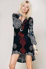 $108 Free People Peacemaker Print Tunic Dress High Low Hem XS 0 2 NWT P281