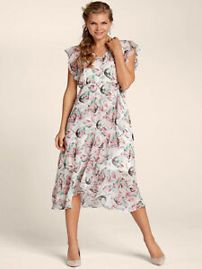 SUMMER-White-Floral-Print-V-Neck-Midi-Dress-with-Frill-Detail-Size-8-10-28-30