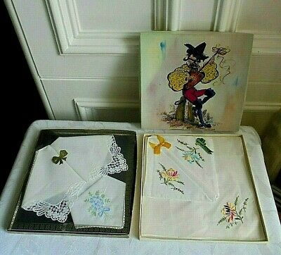 Inventivo 2 Scatole Vintage In Scatola Fazzoletti 1 Set Irlandese Ricamo. + 1 Set Cotone Pizzo-mostra Il Titolo Originale Acquista One Give One