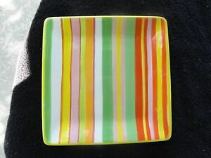 Clay-Art-Citrus-Twist-Yellow-Orange-Green-Pink-White-Stripes-Square-Salad-Plate