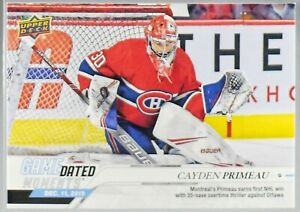 2019-20-UD-GAME-DATED-MOMENTS-27-CAYDEN-PRIMEAU-MONTREAL-CANADIENS-ROOKIE-WIN
