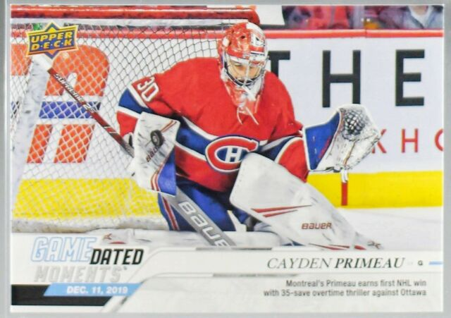 2019-20 UD GAME DATED MOMENTS #27 CAYDEN PRIMEAU MONTREAL CANADIENS ROOKIE WIN