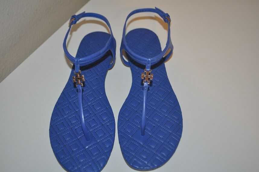 NEW Thong Tory Burch Marion Quilted Sandale Hudson Blau Leder Thong NEW Flat shoe Sz 7.5 69c32c