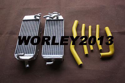 Aluminum radiator + Yellow silicone hose for SUZUKI RM125 W/X/Y 1998 1999 2000