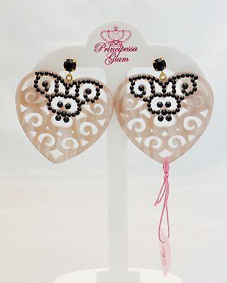 Orecchini pendenti a cuore Principessa Glam rosa cipria con cristalli swarovski