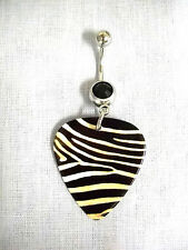 NEW REALISTIC ZEBRA SKIN PRINTED GUITAR PICK BLACK CZ BELLY RING BAR NAVEL RING