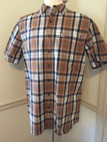 NWT Men/'s Carhartt Short Sleeve S//S Button Shirt 103004 005 2 Layer Pocket Plaid