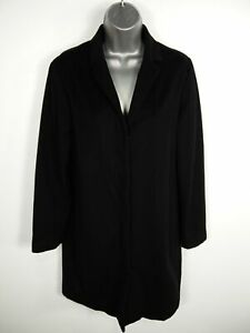 WOMENS-FRENCH-CONNECTION-BLACK-BUTTON-UP-SINGLE-BREASTED-WOOL-OVERCOAT-M-MEDIUM