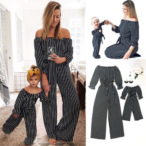 Family Matching Clothes Mother Daughter Women Girls Off Shoulder Romper Jumpsuit