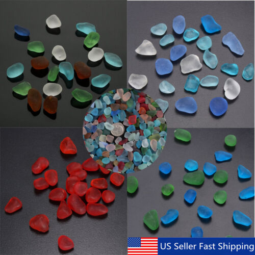 Lot Sea Beach Glass Beads Mixed Colors Bulk Blue Red Green Jewelry Pendant Decor