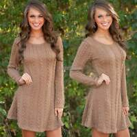 New Womens Ladies Knitted Long Sleeve Winter Swing Mini Skater Jumper Dress 6-14