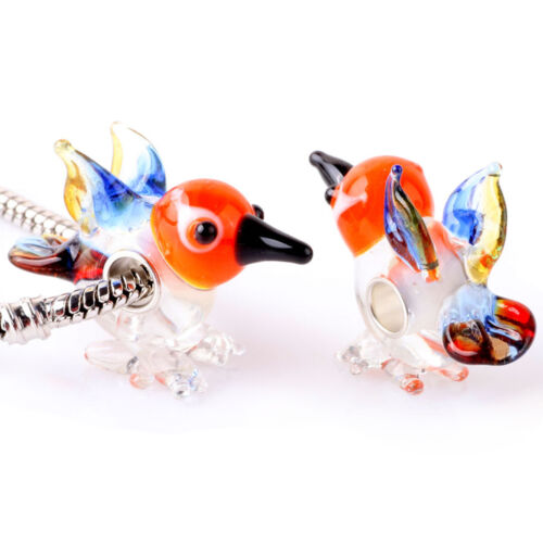 Special Murano Glass Bead Animals Birds Charm Sterling Silver-Core for Bracelets