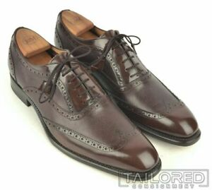 NEW-CALZOLERIA-HARRIS-Brown-Leather-Mens-Wingtip-Oxford-Dress-Shoes-10-5