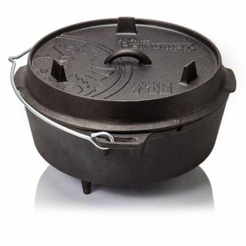 Größen Dutch Oven Petromax Feuertopf Gusseisen Schmortopf für Lagerfeuer versch