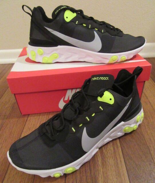 the latest 719ff a96b3 Nike React Element 55 Size 11 Black Wolf Grey Volt White BQ6166 001 New NIB
