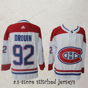 best sneakers 3cfba bf0c2 Details about #92 Montreal Canadiens Hockey Jersey Jonathan Drouin  Canadiens White All Sewn