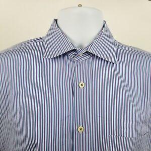 Peter-Millar-Mens-Purple-Blue-Striped-L-S-Dress-Button-Shirt-Sz-Large-L