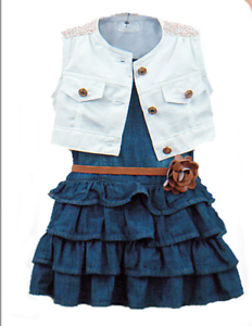 3pcs-Toddler-Infant-Girls-Outfits-Denim-dress-Vest-belt-Kids-Clothes-Set