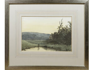 Cottage / Riverside Landscape - Early 20th Century British Watercolour Painting
