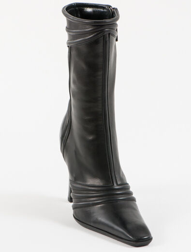 New Alberto Guardiani  Black Leather  Made in  Boots Size 36 US 6