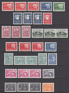 Sweden Sc 603//679 used 1961-1965 issues, 14 cplt sets w/ perf varieities, F-VF