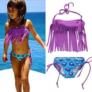 günstigster Preis klassische Passform Preis vergleichen Details zu Süsser Mädchen Fransen Bikini Gr. 104 110 116 122 128 Bikini -  Set