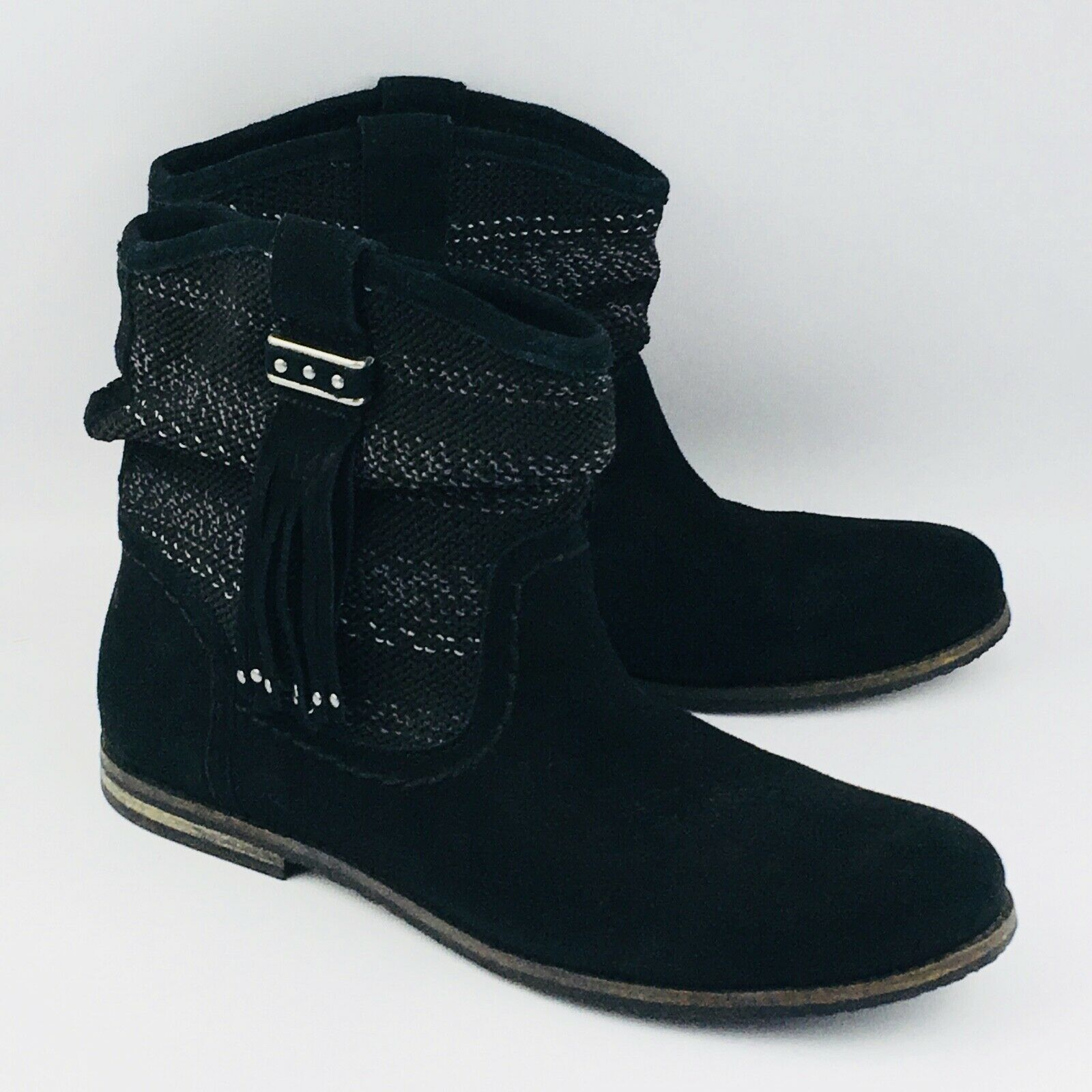 Womens 10 The Sak Jezebel Boots Black Leather Ankle Slouch Tassel 7