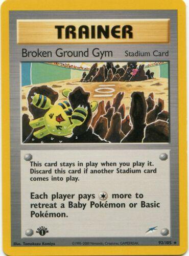 Neo Destiny Rare Pokemon Card EX-NM Broken Ground Gym 92//105 1st Ed