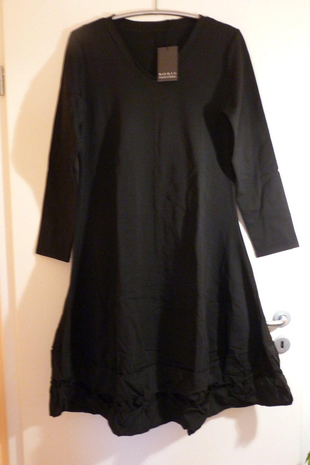 BORIS INDUSTRIES Knotensaum Kleid 46 48 NEU LAGENLOOK schwarz A-Form Stretch