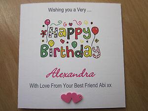 Homemade Birthday Cards For Best Friend ~ Personalised handmade female birthday card mum auntie sister