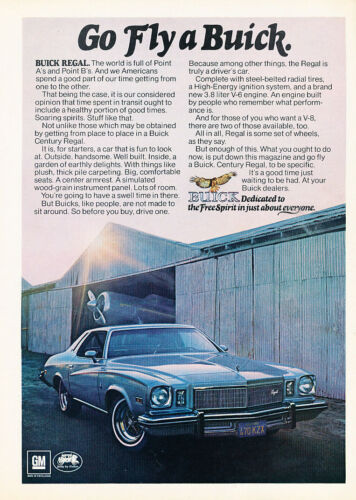 Fly Classic Vintage Advertisement Ad D160 1975 Buick Regal
