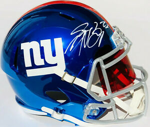 release date 50189 524f3 Details about PSA/DNA NY Giants #26 SAQUON BARKLEY Signed Autographed  CHROME Speed F/S Helmet
