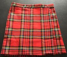 """Size 16 Red & Black Tartan Kilt Mini WrapOver 18"""" Length Schoolgirl Skirt - NEW"""