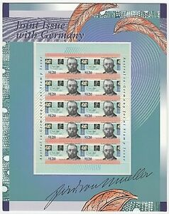 1996-STAMP-PRESENTATION-MINI-SHEET-039-JOINT-ISSUE-WITH-GERMANY-039-10-x-1-20-MNH