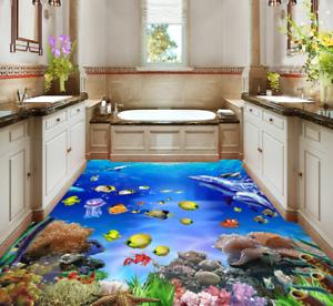 3D colorful Fish Ocean 9 Floor WallPaper Murals Wall Print Decal AJ WALLPAPER US