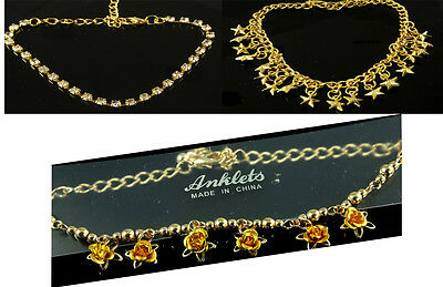 Gold tone anklets ankle chains sparkly diamante stars roses reduced