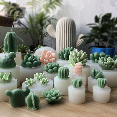 Succulent Cacti Candle Mold Moulds DIY Craft  Soap Molds Plaster Silicone d