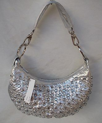 New Women's Ohh Ashley Leather Small Slouch Hobo Stones & Nail Heads Silver Foil
