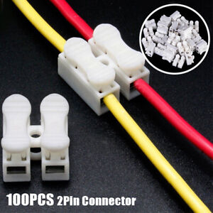 100Pcs Electrical Cable Connectors Quick Splice Lock Wire Terminals Self Locking