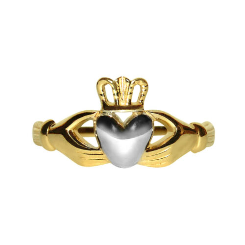 Details about  /14k Two-tone Gold Classic Celtic Claddagh Ring