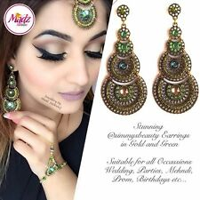 Indian Bollywood Gold Crystal Drop Dangle Chandelier Earrings Bridal Green